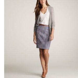 J Crew Sz 10 boucle metallic tweed pencil skirt
